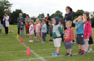 Children line up in teams